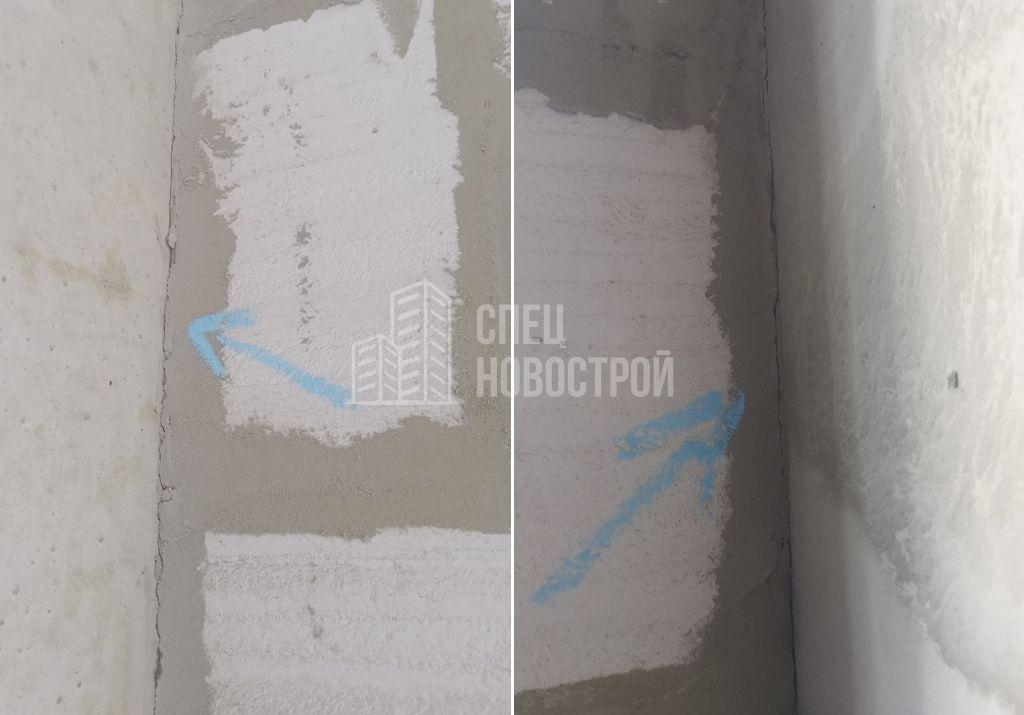 трещины в примыкании блочной кладки к монолитной стене