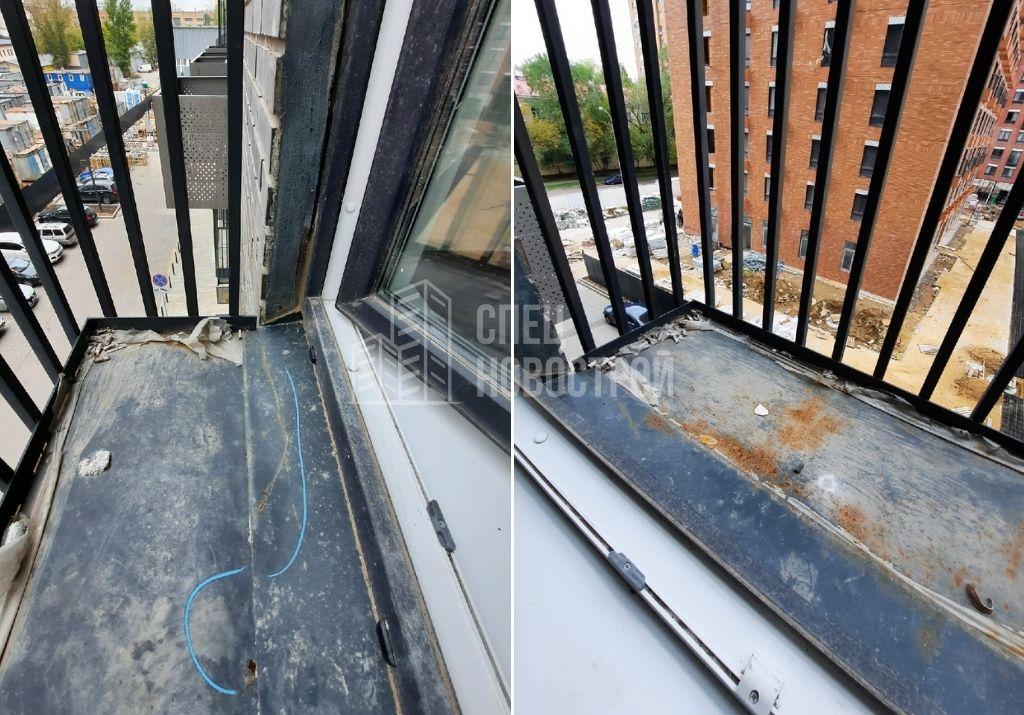 царапины и следы коррозии на отливе, поверхности французского балкона и ограждения