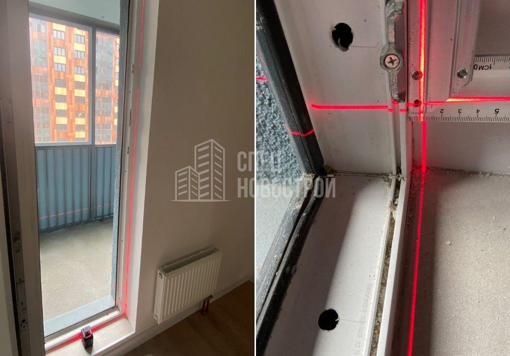 отклонение балконного блока от вертикали на 6 мм