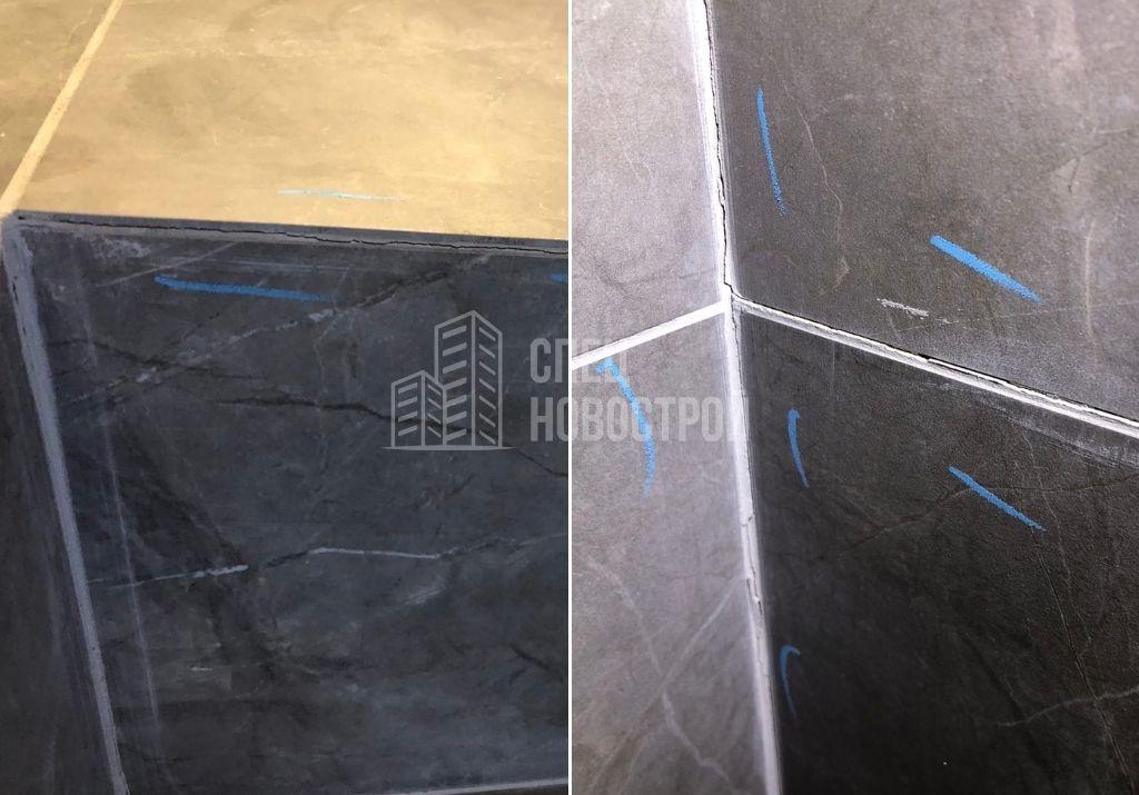 трещины в швах затирки настенной плитки. отслоение элемента настенной плитки